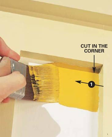 <b>Photo 7:  Cut in at the corner</b></br> Load the brush and wiggle the tip of the brush carefully into the inside corner. Then pull it out and along one edge for about 4 in.
