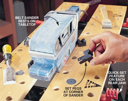 <b>Photo 2: Clamp power tools</b></br> Set up the table for use as a power tool work stand. Safely secure a belt sander to the table by closing both jaws, resting the tool <em>on</em> the tabletop, inserting the four plastic pegs in the holes closest to the corners of the tool, then tightening the jaws for a secure hold.