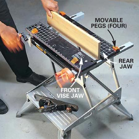 <b>Photo 5A: Clamping narrow stuff</b></br> Clamp long or short vertical boards securely with this model  by turning either handle to evenly close both sides of the front jaw against the rear.