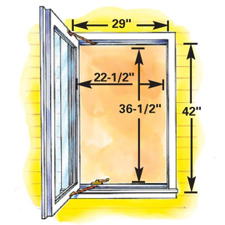 "<b>Figure C: Minimum size casement egress window</b></br> Casement windows—with hinged sashes that swing free and clear of the opening—can be relatively small and still meet egress requirements. This makes them ideal for basement egress and for other areas where space is limited. The overall size of this ""smallest"" egress casement window is 8 sq. ft."