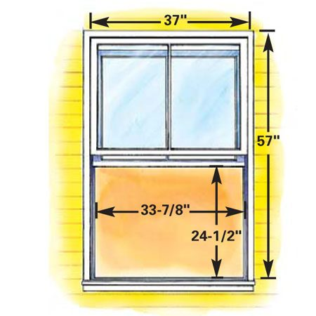 "<b>Figure D: Minimum size double-hung egress window</b></br> Double-hung windows—with vertically sliding sashes that always fill more than one-half the opening area—have to be pretty big to meet egress requirements. The overall size of this ""smallest"" double-hung egress window is 14.85 sq. ft., almost twice the area of the egress casement window shown."