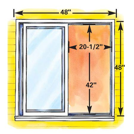 "<b>Figure E: Minimum size gliding egress window</b></br> Gliding windows— with horizontally sliding sashes that always fill half the possible window opening area— also have to be big to meet egress requirements. The overall size of this ""smallest"" gliding egress window is 15.5 sq. ft., almost twice the area of the egress casement window shown."
