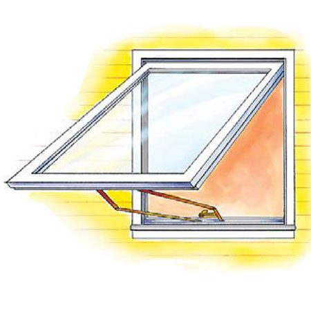 <b>Figure F: Minimum size awning egress window</b></br> Awning windows are problematic. Since the opened sash prevents escape from most window wells, they're unsuitable for basement egress. And with most awning windows, the opening hardware and height don't meet egress requirements. Some manufacturers offer models with detachable operators that meet egress requirements.