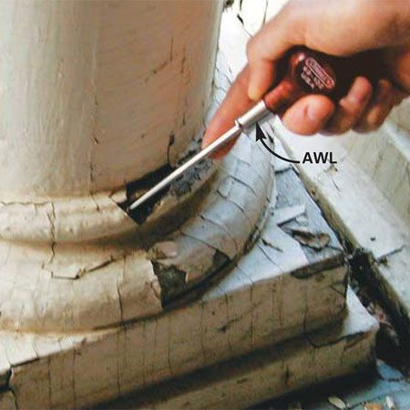 <b>Photo 1: Investigate the extent of the rot </b></br> Probe the area surrounding the damaged wood with an awl or screwdriver to determine the extent of the rot. Soft, easily penetrated wood is rotten or beginning to decay and should either be removed (Photo 2) or reinforced with epoxy consolidant as shown in Photo 3.