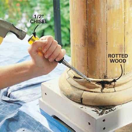<b>Photo 2: Remove all rotted wood</b></br> Gouge out all the rotted wood using a paint scraper, chisel or old screwdriver. Work back to solid wood if possible. Drill a series of 1/4-in. holes spaced about 1 in. apart to allow epoxy consolidant to soak into any water-damaged wood surrounding the repair (see Photo 3). On vertical surfaces, slope the holes slightly downward to form pockets for the consolidant. Don't drill all the way through the material.