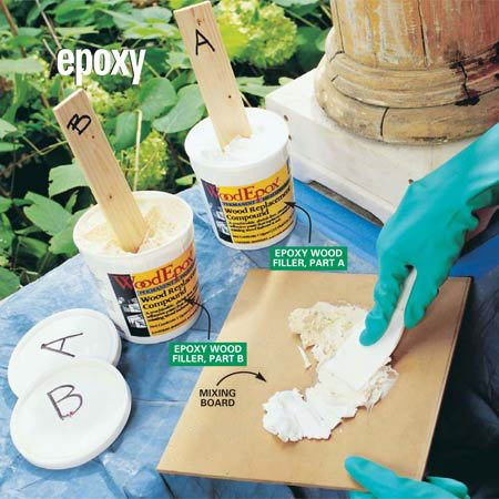 "<b>Photo 4: Mix the epoxy</b></br> Scoop equal golf ball–sized pieces of parts ""A"" and ""B"" of the epoxy wood filler onto a scrap of hardboard or plywood. Mix the two parts with a stiff putty knife for two to three minutes until they are completely blended. Label the lids and scooping sticks to avoid accidentally mixing parts A and B."