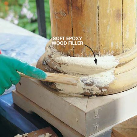 <b>Photo 7: Roughly shape the profile</b></br> Pat and press the soft epoxy filler to the approximate shape with a scrap of wood, adding filler as needed. Allow the epoxy to harden at least four hours and preferably overnight.