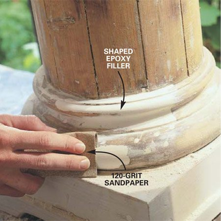 <b>Photo 9: Fine tune and smooth with sandpaper</b></br> Smooth and fine-tune the epoxy repair with 80-grit sandpaper. When the shape is accurate, sand the repair and surrounding wood with 80-grit sandpaper, and finally with 120-grit sandpaper. Wear a dust mask and eye protection when you're sanding. Vacuum the dust from the repair and brush a coat of top-quality alkyd primer over the epoxy and surrounding bare wood. Finally, seal the joints between separate parts with polyurethane caulk before applying the final coats of finish.
