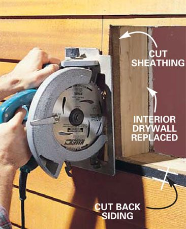 <b>Photo 8: Remove the siding </b></br> Connect the four holes with lines and cut out the 12-in. opening in the siding and sheathing. Mark another square opening the size of your exterior firestop and cap, and cut through the siding only. Finish the corners with a utility knife or chisel. Vinyl, aluminum, stucco and brick siding require different techniques.
