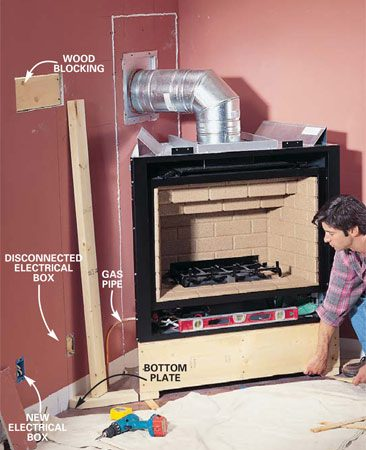 <b>Photo 12: Run electric and gas lines </b></br> Fine-tune the position and levelness of the fireplace and screw the platform to the floor. Relocate electrical boxes as needed and run a new electrical line if you intend to install the optional fan or remote control. Run the new gas line. Screw wood backing between the studs to secure the surround as needed.