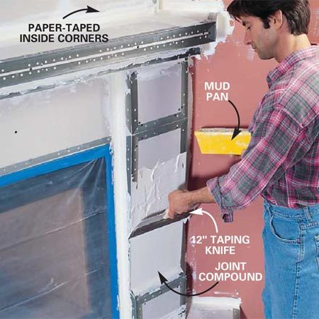 <b>Photo 19: Tape the joints </b></br> Apply paper tape embedded in a layer of drywall joint compound to joints without corner bead. Fill the area between corner beads with joint compound. Sand the corners and joints smooth with 100-grit drywall sanding paper.