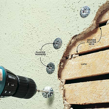 Repair plaster that is no longer keyed to the lath by fastening it with plaster washers.