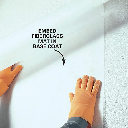 <b>Applying fiberglass mat</b></br> <p>Fiberglass mats can cover cracking in well-adhered plaster walls. In the Nu-Wal system shown in the photo, a base coat is rolled on the wall and then covered by a fiberglass mat.</p>
