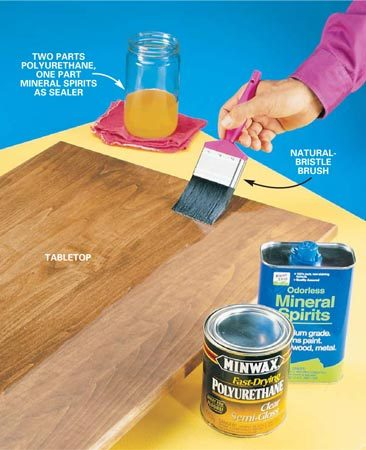 <b>Photo 1: Make your own sealer</b></br> Thin your oil-based polyurethane with mineral spirits. Brush the sealer on with a natural-bristle brush using long, even strokes. Be sure to catch any runs.