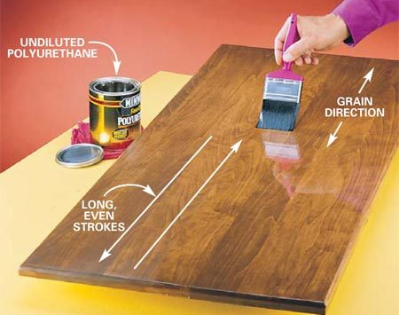 <b>Photo 2: Brush on the first polyurethane coat</b></br> Use undiluted polyurethane varnish straight from the can for the second and third coats. After you've wet the entire surface, go back and overlap each stroke across the entire surface, following the direction of the grain.