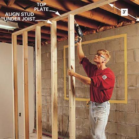 <b>Photo 2: Build a temporary support wall </b></br> Erect a temporary 2x4 support wall if the joists are perpendicular to the wall you'll be cutting. Place it 3 ft. back from the concrete wall. Screw the top plate to the joists and align the studs directly under the floor joists. Measure and cut each stud for a tight fit.