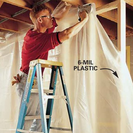 <b>Photo 3: Hang plastic to contain dust </b><br/>Tent the area where you&#39;ll be cutting with 6-mil plastic sheeting to confine the dust. Use sheeting at least 8 ft. 6 in. to 9 ft. wide.