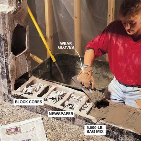 <b>Photo 10: Fill the block cores with concrete </b></br> Fill the open cores under the sill with concrete. Stuff newspaper into the cores to keep the concrete from falling down through them.