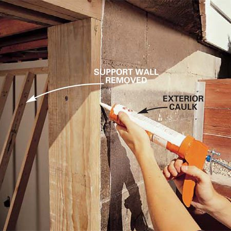 <b>Photo 14: Caulk around the frame </b></br> Seal gaps between the wood frame and the concrete with polyurethane or other exterior caulk. For gaps more than 1/4 in. wide, push a foam backer rod into the gap before caulking. With the frame securely in place, you can remove the temporary support wall.