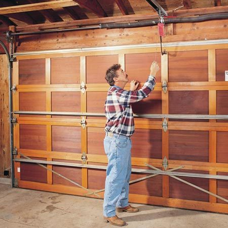 <b>Garage door safety</b></br> <p>Follow all safety precautions when working on your garage door.</p> <p> Read more on <a href='http://www.familyhandyman.com/garage/troubleshooting-garage-door-openers/view-all' title='Garage Door Opener Repair'>garage door opener repair.</a></p>