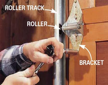 <b>Photo 1: Tighten the nuts and bolts</b></br> Because your door moves, the hardware can loosen. Inspect and tighten all roller brackets and the bolts that hold the rails to the support brackets.