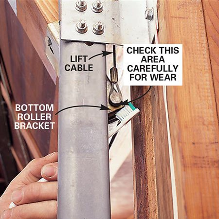 <b>Photo 3: Inspect the lift cable for wear</b></br> Look for broken strands. Damage is most likely to occur where the cable attaches to the bottom roller bracket, where it's most exposed to moisture. Clear away the gunk from this area with an old toothbrush so you can check the condition of the cable. Since this cable is under high tension, don't try to replace it yourself. Call a garage door professional to replace it.
