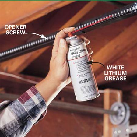 <b>Photo 4: Lubricate the chain or screw</b></br> <p>Lubricate the chain or the screw on your opener annually with white lithium grease. Spray-on versions are available at most home centers. Lubrication will make the opener's operation smoother, quieter and extend the life of both chain and opener.</p> <p>Note: Some screw openers do not require lubrication. Check your Owner's Manual.</p>