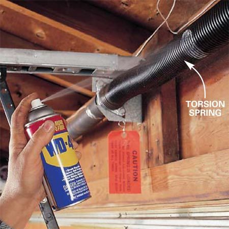 <b>Photo 5: Lubricate the springs</b></br> <p>Coat the overhead torsion springs or the extension springs mounted above roller tracks with a lubricant/ cleaner like WD-40. Don't wipe off the excess. All springs will eventually break because of metal fatigue and/or corrosion, but this annual maintenance will prevent corrosion.</p>  <p><strong>NOTE:</strong> Replacing springs is a job for a professional. If one spring breaks, both should be replaced</p>