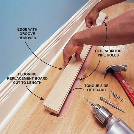 <b>Photo 4: Set the new plank in place </b></br> Install the new floorboard by inserting the tongue into the groove of the adjacent plank.