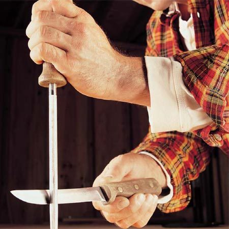 <b>Chef's steel</b></br> Hold the knife at about a 15-degree angle to the steel rod. Stroke the knife alternately on each side of the steel several times. A chef's steel will keep a knife sharper longer and reduce the number of times you'll need to sharpen it.