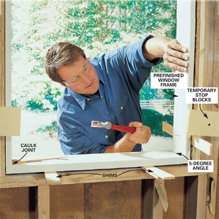 <b>Photo 2: Nail stop blocks to the window frame</b></br> Tack stop blocks on the inside of the opening to keep the frame flush to the framing. Assemble the frame, then plumb and square it and nail it into the opening with 8d casing nails, shimming as needed.