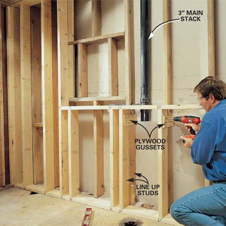 <b>Photo 9: Tie the new wall to existing studs </b></br> Tie all the short studs to the existing studs at the top and bottom with 6 x 11-in. plywood gussets screwed to every stud on the short wall. Keep gussets on the outside of the chair carrier space so they won't interfere with installation. Install backer boards as needed to support cement board or drywall.