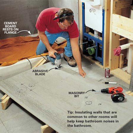 <b>Photo 16: Install the cement board. </b></br> Insulate exterior walls and staple a 6-mil vapor barrier over the insulation. Install 1/2-in. cement board (for tile) with specially coated 1-1/4-in. cement board screws spaced 6 in. on butt joints and every 8 in. in the middle of sheets. Hang 1/2-in. drywall everywhere else.