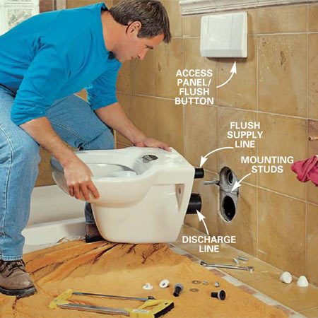 <b>Photo 20: Install the toilet bowl </b></br> Mount the supply and discharge lines to the toilet with the seals provided and slip the toilet bowl into position over the mounting studs. Snug up the nuts, being careful not to over-tighten and crack the porcelain.