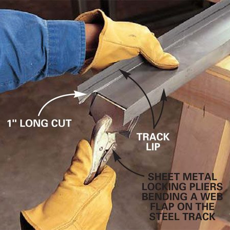 <b>Inset: Creating an interlocking header joint</b></br> Cut the flanges on the sides of the track and bend down the inner web to create a fastening surface.