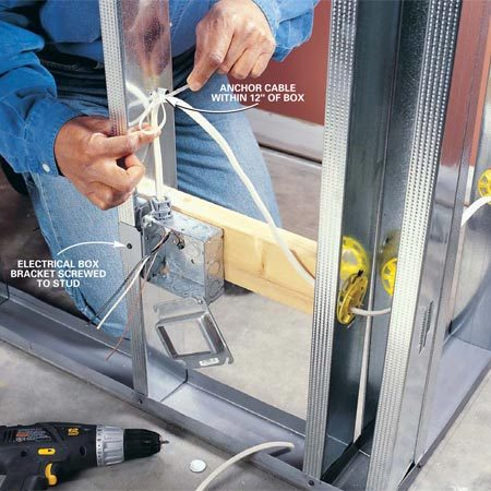 "<b>Photo 5: Steel stud wiring</b></br> Secure electrical cable along the center line of each stud with plastic ties screwed to the studs. Pop a plastic ""bushing"" into each knockout to keep the cable from rubbing against the sharp edges."