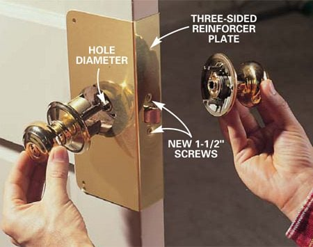 <b>Photo 3: Reinstall the doorknobs over the reinforcer</b><br/>Slide the three-sided reinforcer plate onto the door. Secure it to the latch with the two 1-1/2 in. screws provided and remount the doorknobs.
