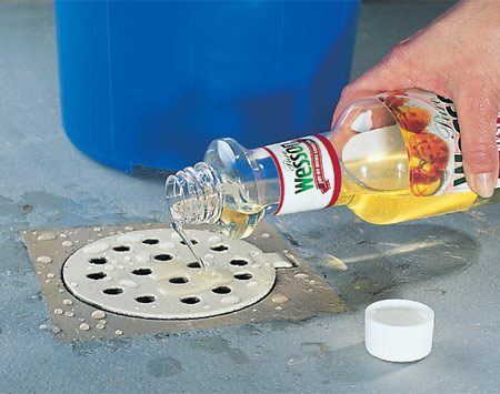 <b>Oil blocks evaporation</b></br> Top off the drain trap water level by adding a quart of water. Then pour in a couple of tablespoons of cooking oil.