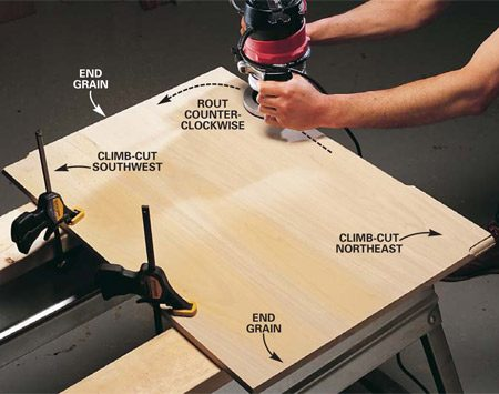 <b>Photo 1: Edge-routing</b></br> Clamp the board down and move the router in a counterclockwise direction around the board.