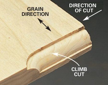 <b>Photo 2: Close-up of a climb cut</b></br> Use a short climb cut to avoid chips at corners.