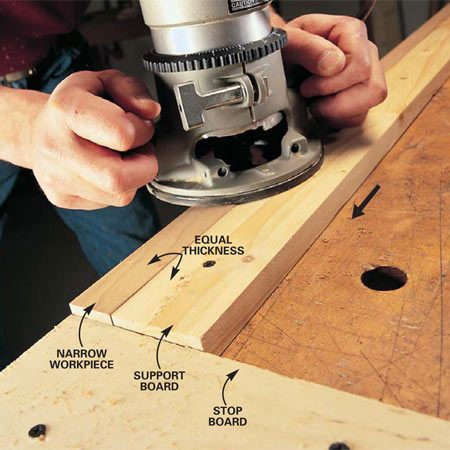 <b>Routing narrow stock</b></br> Fasten a support board to the bench to stabilize the router and a stop board to secure it so you don't need clamps.