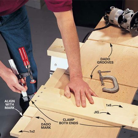 """<b>Photo 1: Clamp the straightedge</b></br> Assemble a """"T-square"""" jig with a 1x2 and a 1x6. Clamp it to your work piece."""