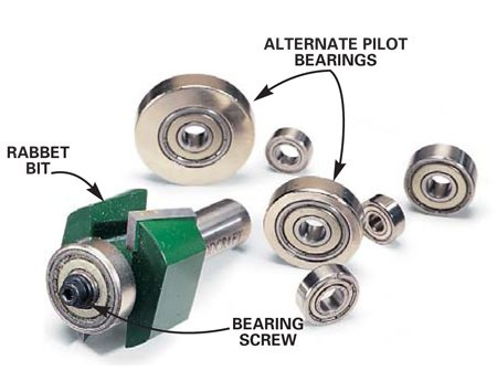 <b>Photo 2: Rabbet bit and bearings.</b></br> Various bearing sizes allow you to adjust the width of the rabbet cut.