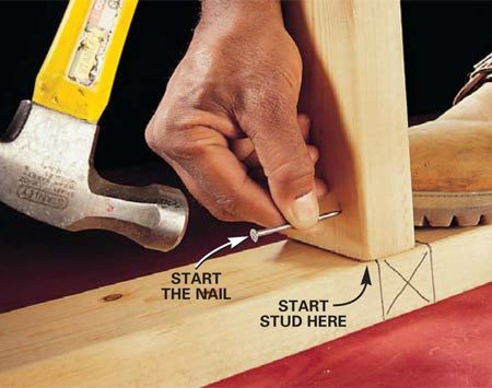 <b>Photo 1: Start the nail</b></br> Position the board in front of the layout line and place your toe against the back. Start the nail by tapping it about 1/4 in. straight in, not at an angle.
