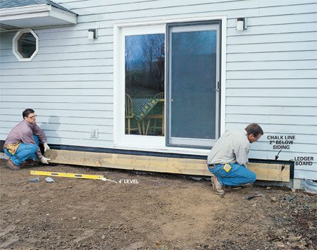 <b>Photo 1: Remove the siding</b></br> Pry off the exterior siding. (Cut it to fit later.) Then cut the 2x10 ledger board to length and align it with a level chalk line about 3 in. below the door sill. Tack it in place with 16d galvanized box nails.
