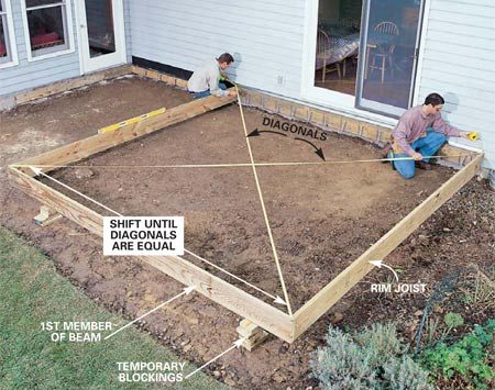 How to build a wood and stone deck the family handyman for Simple platform deck plans