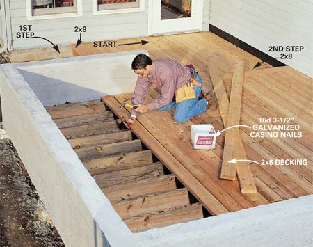 <b>Photo 12: Nail the deck</b></br> Install the decking. Drive two 16d galvanized casing nails through the 2x6 decking into each joist. Set the nails slightly below the surface with a nail set. Start at the step of the lower deck, work toward the house, then align the boards of the upper deck to the lower and work away from the house. Straighten bowed boards by drawing them toward you with a chisel driven into the joist. Then nail, using a nail for a spacer between boards.