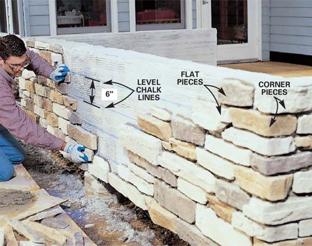 <b>Photo 13: Snap reference lines</b></br> Snap level chalk lines on the walls every 6 in. as rough guidelines. Apply the stone, starting with the bottom corners and working your way up and out, staying in a stair-step shape. Spread a pile of stones nearby to provide a wide selection.