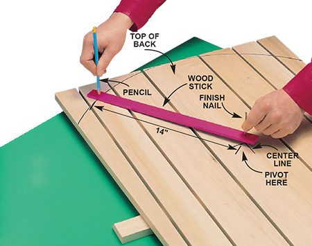 <b>Photo 3: Cut the curved top</b></br> <p>Make a compass from a scrap of wood by drilling a hole near each end. Put a nail in one end and use a pencil in the other hole to draw the 14-in. radius to form the curved top.</p>