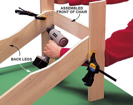 <b>Photo 5: Attach the back legs to the front</b></br> <p>Clamp the back legs (B) to the front assembly to accurately position them. Work on a flat workbench surface so the chair won't wobble. Apply glue, drill pilot holes and drive 1-1/4 in. deck screws.</p>